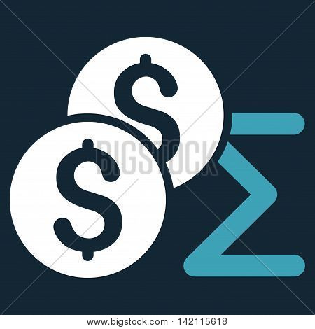 Coin Summary icon. Vector style is bicolor flat iconic symbol with rounded angles, blue and white colors, dark blue background.
