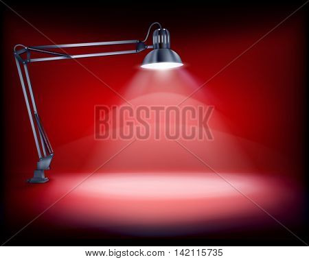 Desk with a lamp. Vector illustration.