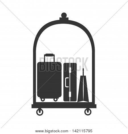 hotel luggage service bags case suitcase modern cart vector graphic illustration isolated