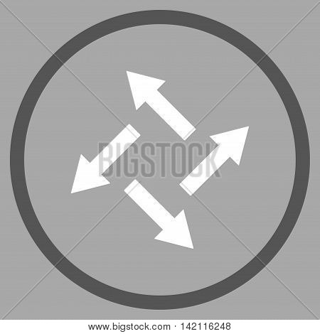 Centrifugal Arrows vector icon. Style is bicolor flat rounded iconic symbol, centrifugal arrows icon is drawn with dark gray and white colors on a silver background.