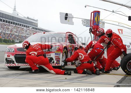Long Pond, PA - Aug 01, 2016: Kyle Larson (42) makes a pit stop for the Pennsylvania 400  at the Pocono Raceway in Long Pond, PA.