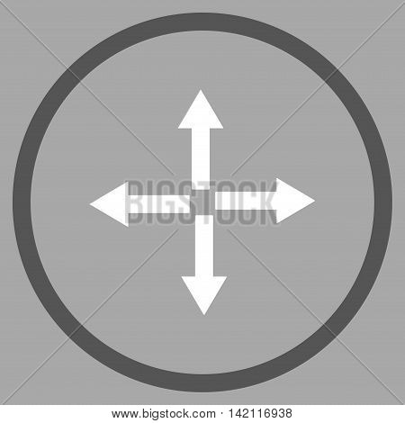Expand Arrows vector icon. Style is bicolor flat rounded iconic symbol, expand arrows icon is drawn with dark gray and white colors on a silver background.