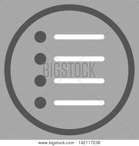 Items vector icon. Style is bicolor flat rounded iconic symbol, items icon is drawn with dark gray and white colors on a silver background.