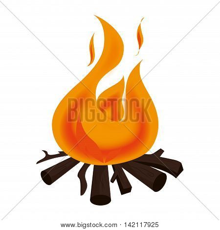 campfire bonfire firewood flammable burn fire vector graphic isolated illustration