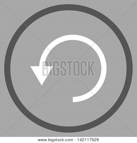 Rotate Ccw vector icon. Style is bicolor flat rounded iconic symbol, rotate ccw icon is drawn with dark gray and white colors on a silver background.