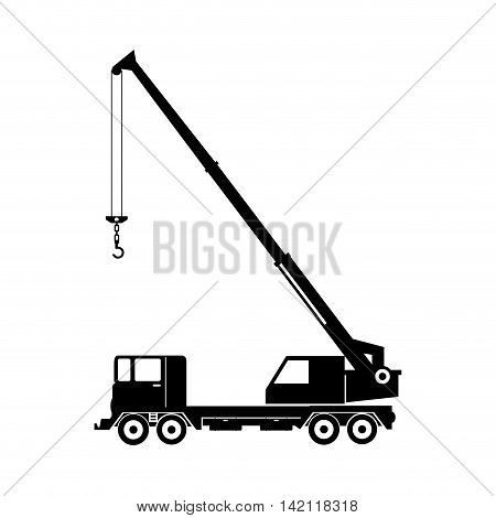 mobile truck crane industry hang lifter equipment vector graphic isolated illustration