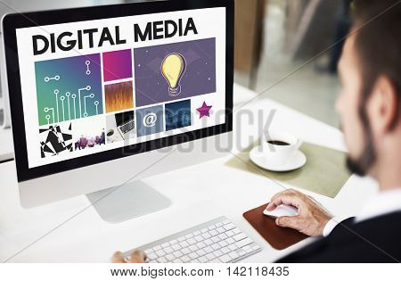 Digital Media Technology Cyberspace Network Concept