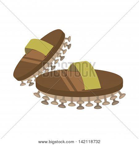 flat design asian spa slippers icon vector illustration