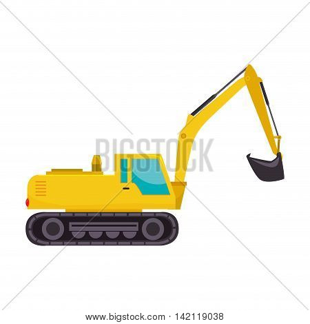 excavator truck tractor machinery insdustry construction scoop excavation machine vector graphic isolated illustration