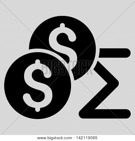 Coin Summary icon. Vector style is flat iconic symbol with rounded angles, black color, light gray background.