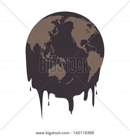 flat design earth oil melting icon vector illustration