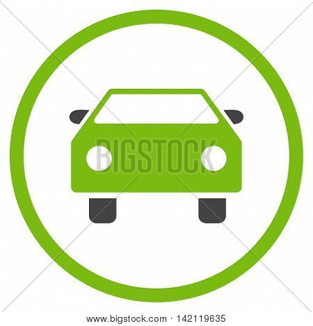 Car vector icon. Style is bicolor flat rounded iconic symbol, car icon is drawn with eco green and gray colors on a white background.