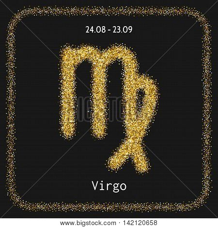 Virgo. Zodiac sign of gold glitter on dark background. Symbol for horoscopes and predictions
