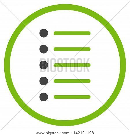 Items vector icon. Style is bicolor flat rounded iconic symbol, items icon is drawn with eco green and gray colors on a white background.