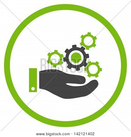 Mechanics Service vector icon. Style is bicolor flat rounded iconic symbol, mechanics service icon is drawn with eco green and gray colors on a white background.