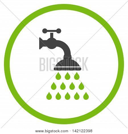 Shower Tap vector icon. Style is bicolor flat rounded iconic symbol, shower tap icon is drawn with eco green and gray colors on a white background.
