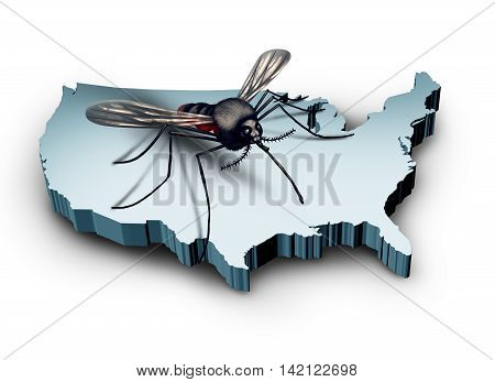 Zika virus in the United States concept as a mosquito sitting on a 3D illustration of the country of America as a medical health crisis and public health concern.