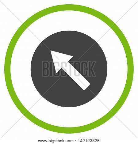 Up-Left Rounded Arrow vector icon. Style is bicolor flat rounded iconic symbol, up-left rounded arrow icon is drawn with eco green and gray colors on a white background.