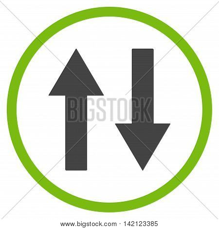Vertical Flip Arrows vector icon. Style is bicolor flat rounded iconic symbol, vertical flip arrows icon is drawn with eco green and gray colors on a white background.