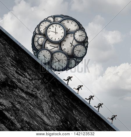 Business deadline stress concept as a group of desperate employees or working people running away from a ball made of clock objects as an overtime metaphor and stress in the workplace with 3D illustration elements.
