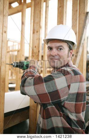 Carpenter On Construction Site
