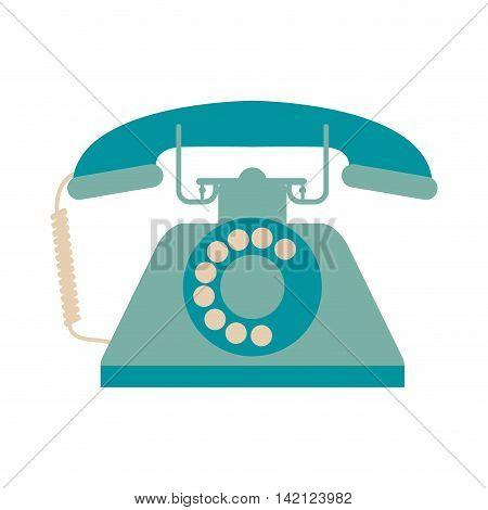 flat design retro rotary telephone icon vector illustration