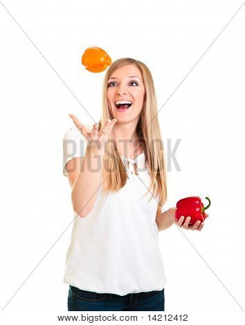 Blond caucasiam woman holding fruits isolated