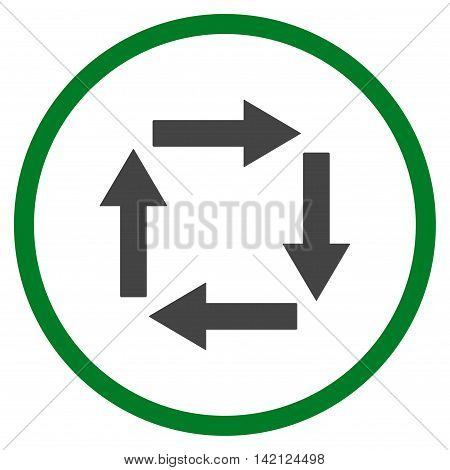 Circulation Arrows vector icon. Style is bicolor flat rounded iconic symbol, circulation arrows icon is drawn with green and gray colors on a white background.