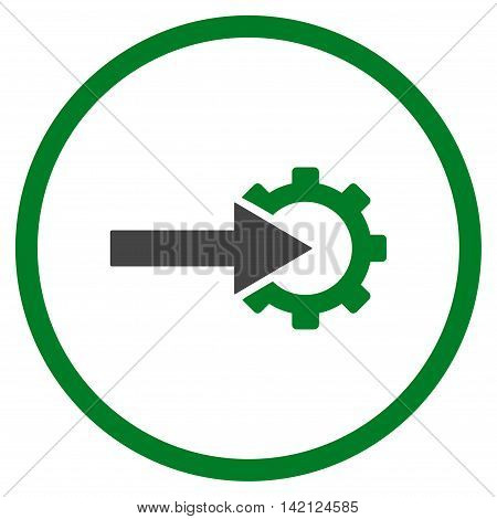 Cog Integration vector icon. Style is bicolor flat rounded iconic symbol, cog integration icon is drawn with green and gray colors on a white background.