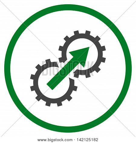 Gear Integration vector icon. Style is bicolor flat rounded iconic symbol, gear integration icon is drawn with green and gray colors on a white background.