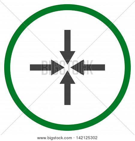 Impact Arrows vector icon. Style is bicolor flat rounded iconic symbol, impact arrows icon is drawn with green and gray colors on a white background.