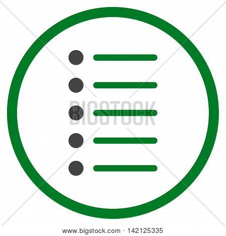Items vector icon. Style is bicolor flat rounded iconic symbol, items icon is drawn with green and gray colors on a white background.