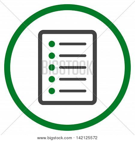List Page vector icon. Style is bicolor flat rounded iconic symbol, list page icon is drawn with green and gray colors on a white background.