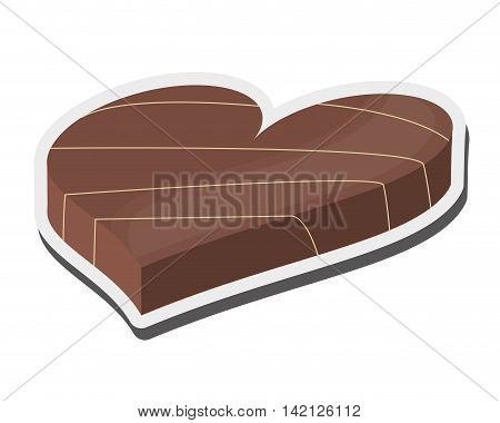 flat design heart shaped decorated candy chocolate icon vector illustration