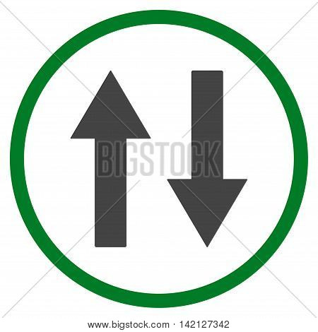 Vertical Flip Arrows vector icon. Style is bicolor flat rounded iconic symbol, vertical flip arrows icon is drawn with green and gray colors on a white background.
