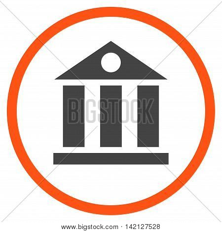Bank Building vector icon. Style is bicolor flat rounded iconic symbol, bank building icon is drawn with orange and gray colors on a white background.