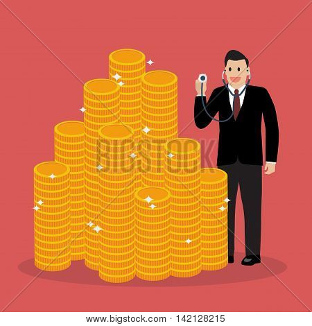 Businessman holding stethoscope for financial checkup. Business concept