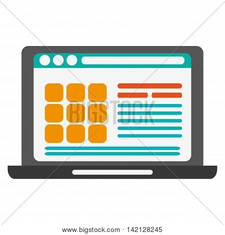 flat design laptop frontview with webpage on screen icon vector illustration