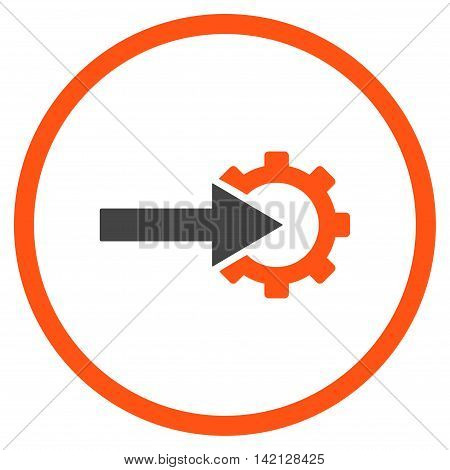Cog Integration vector icon. Style is bicolor flat rounded iconic symbol, cog integration icon is drawn with orange and gray colors on a white background.