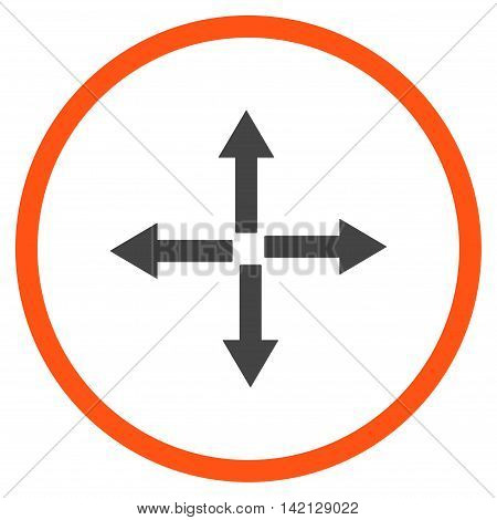 Expand Arrows vector icon. Style is bicolor flat rounded iconic symbol, expand arrows icon is drawn with orange and gray colors on a white background.