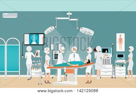 Medical hospital surgery operation room interior at the hospital with doctor and patient medical health care charactors vector illustration.