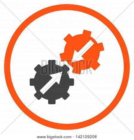 Gear Integration vector icon. Style is bicolor flat rounded iconic symbol, gear integration icon is drawn with orange and gray colors on a white background.