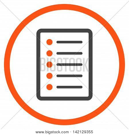 List Page vector icon. Style is bicolor flat rounded iconic symbol, list page icon is drawn with orange and gray colors on a white background.