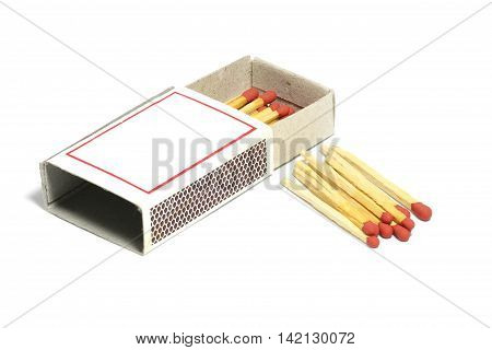 Close up of group red match stick with box isolated on a white background