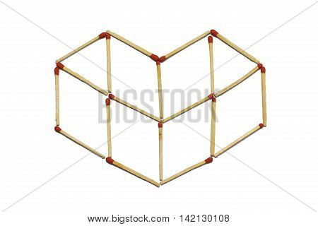 Close up of group of red match stick arrange in heart pattern isolated on a white background