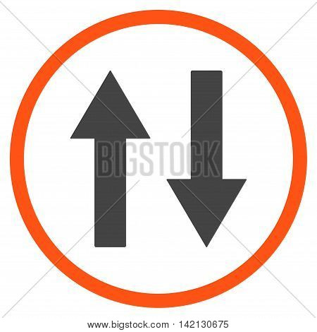 Vertical Flip Arrows vector icon. Style is bicolor flat rounded iconic symbol, vertical flip arrows icon is drawn with orange and gray colors on a white background.