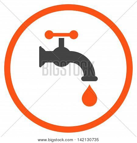 Water Tap vector icon. Style is bicolor flat rounded iconic symbol, water tap icon is drawn with orange and gray colors on a white background.