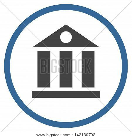 Bank Building vector icon. Style is bicolor flat rounded iconic symbol, bank building icon is drawn with cobalt and gray colors on a white background.