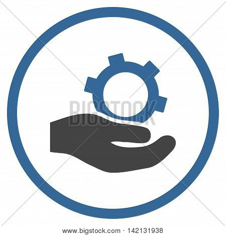 Engineering Service vector icon. Style is bicolor flat rounded iconic symbol, engineering service icon is drawn with cobalt and gray colors on a white background.