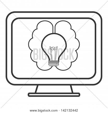 flat design lightbulb and brain on computer screen icon vector illustration